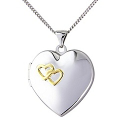 Love Story - Silver, yellow rhodium 'together forever' locket