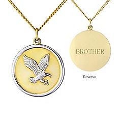 Precious Moments - Silver and yellow rhodium plate 'brother' eagle pendant