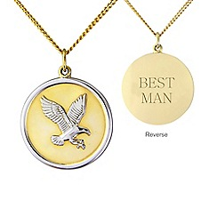 Precious Moments - Silver and yellow rhodium plate 'Best man' eagle pendant