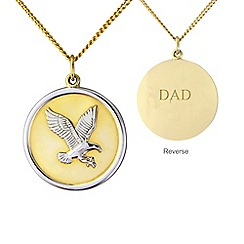 Precious Moments - Silver and yellow rhodium plate 'Dad' eagle pendant