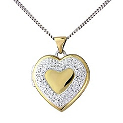Love Story - Silver and 9ct gold crystal locket