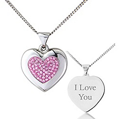 Precious Moments - Silver, pink crystal 'i love you' pendant