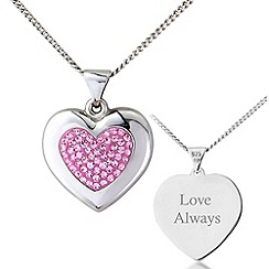 Precious Moments - Silver, pink crystal 'love always' pendant,