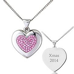 Precious Moments - Silver, pink crystal xmas 2014 pendant