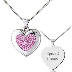Precious Moments - Silver, pink crystal 'special friend' pendant