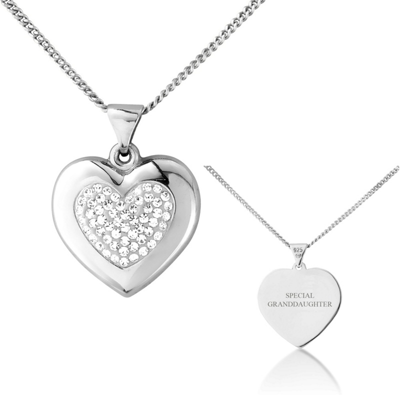 Precious Moments Sterling silver love heart glass crystal ladies pendant with 'special granddaughter'