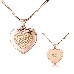 Precious Moments - Rose rhodium on sterling silver glass crystal ladies pendant with 'i love you'