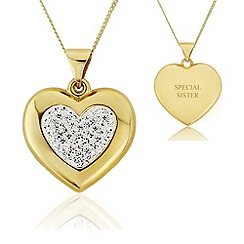 Precious Moments - 9ct gold heart glass crystal ladies pendant with 'special sister'