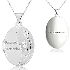 Precious Moments - Sterling silver oval  precious moments locket with 'granddaughter'