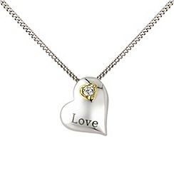 Love Story - Sterling silver & 9ct gold heart shaped pendant