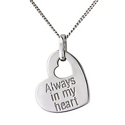 Precious Moments - Silver 'always in my heart' message pendant
