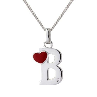 Love Story Silver initial b diamond set pendant