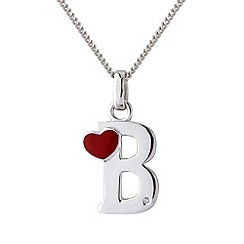 Love Story - Silver initial 'b' diamond set pendant