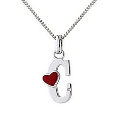 Love Story - Silver initial 'c' diamond set pendant