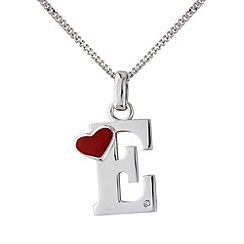Love Story - Silver initial 'e' diamond set pendant