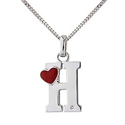 Love Story - Silver initial 'h' diamond set pendant