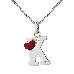 Love Story - Silver initial 'k' diamond set pendant