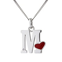 Love Story - Silver initial 'm' diamond set pendant