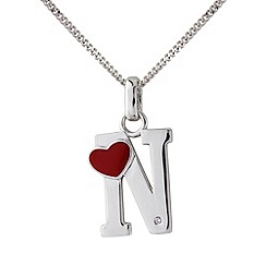 Love Story - Silver initial 'n' diamond set pendant