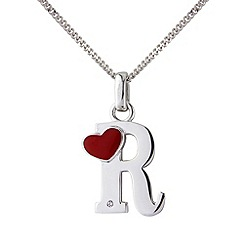Love Story - Silver initial 'r' diamond set initial pendant