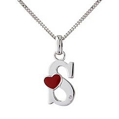 Love Story - Silver initial 's' diamond set initial pendant