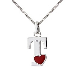 Love Story - Silver initial 't' diamond set initial pendant