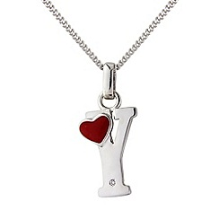 Love Story - Silver initial 'y' diamond set initial pendant