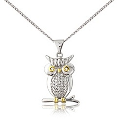 Love Story - Silver and yellow rhodium plated owl pendant