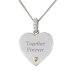 Precious Moments - Silver stone-set heart, 'Together forever',  pendant