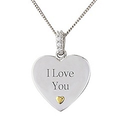 Precious Moments - Silver stone-set heart, 'I love you',  pendant