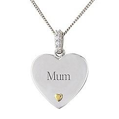 Precious Moments - Silver stone-set heart, 'Mum',  pendant