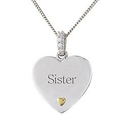 Precious Moments - Silver heart 'Sister' pendant