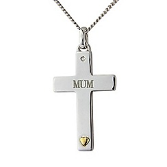 Precious Moments - Sterling Silver Diamond Set 'Mum' Cross Pendant