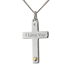 Precious Moments - Silver 'I love you' cross pendant and chain