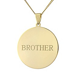 Precious Moments - Sterling silver gold plated circle 'Brother' pendant