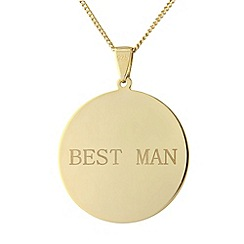 Precious Moments - Sterling silver gold plated circle 'Best Man' pendant