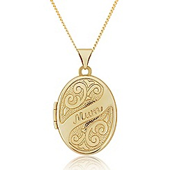 Precious Moments - 9ct Gold Oval 'Mum' Locket