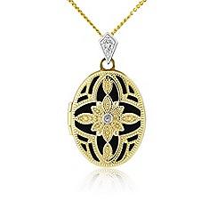 Precious Moments - 9ct gold 'filigree' ladies stone set locket