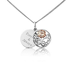 Precious Moments - Silver and rose plated sliding 'Forever & always' disc filigree pendant
