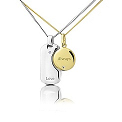 Precious Moments - 2 piece silver & plated 'Love Always' pendant set