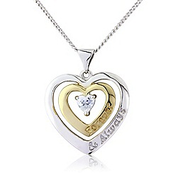 Precious Moments - Silver, 9ct gold plated, stone-set message pendant