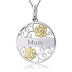 Precious Moments - Silver 9ct gold plated 'mum' filigree pendant