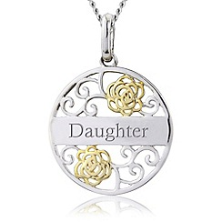 Precious Moments - Silver 9ct gold plated 'daughter' filigree pendant