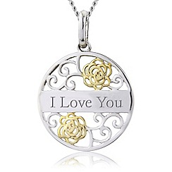 Precious Moments - Silver, 9ct gold plated 'i love you' pendant
