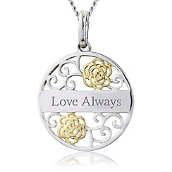 Precious Moments - Silver, 9ct gold plated 'love always' pendant
