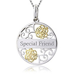 Precious Moments - Silver, 9ct gold plated 'special friend' pendant