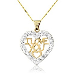 Love Story - 9ct gold 'i love you' pendant