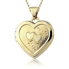 Precious Moments - 9ct gold double heart locket pendant