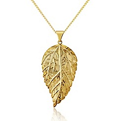 Love Story - 9ct Gold Plated on Silver Leaf Pendant