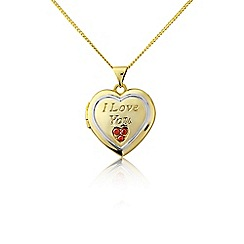Precious Moments - Silver, stone-set 'I love you' locket